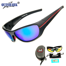 QUESHARK Men Polarized Fishing Sunglasses Black Uv Protection Camping Hiking Goggles Red Lens Sports Glasses Fish Eyewear