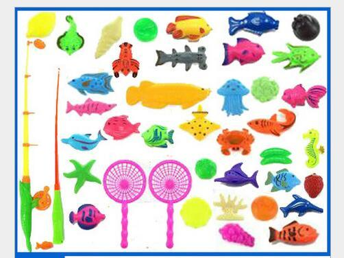 40pcs/set With Inflatable pool Magnetic Fishing Toy Rod Net Set For Kids Child Model Play Fishing Games Outdoor Toys
