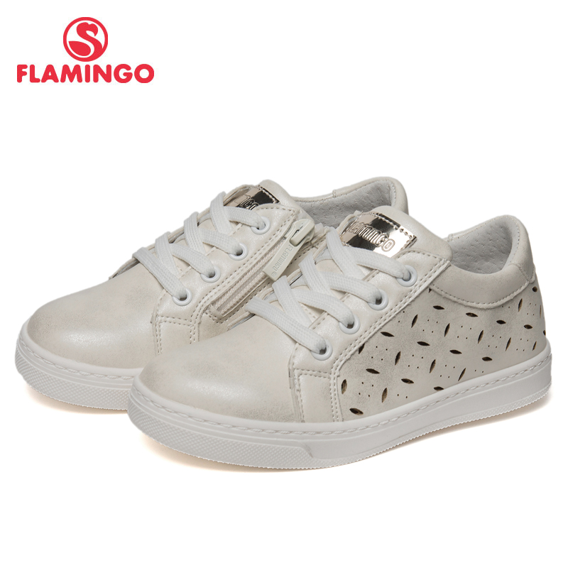 FLAMINGO Brand Breathable Arch Hook& Loop TPR Children Sport Shoes Leather Size 25-30 Kids Sneaker For Girl 91P-SW-1283