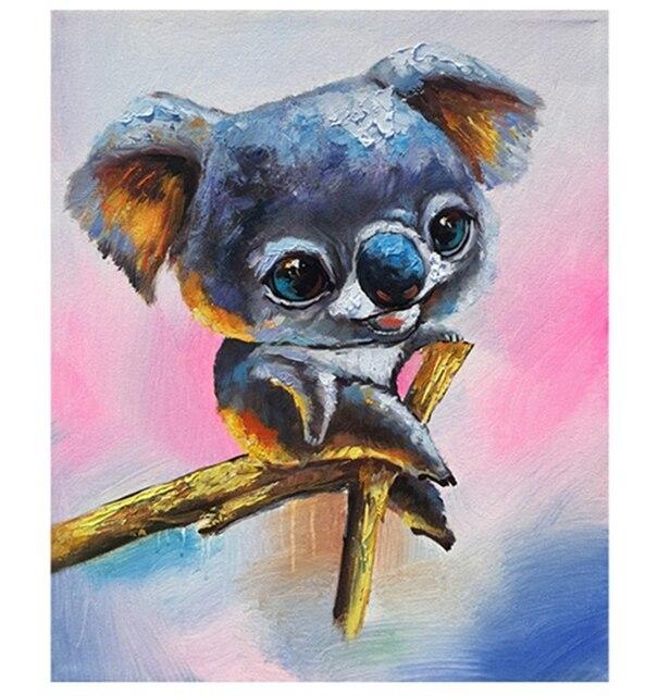 Koala Animal pintura al óleo en la pared de acrílico lindo Koala ...