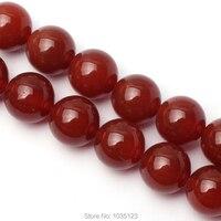 Envío libre 16mm suave color rojo natural ágata forma redonda suelta Cuentas Strand 15