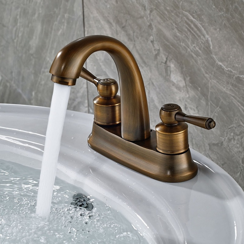 Europe style Basin Faucet antique finished Brass Bathroom deck mounted Sink Faucet single lever high hot and cold basin faucet 2pcs lot 1 4 bsp male full ports connection air brass thread pipe ball valve