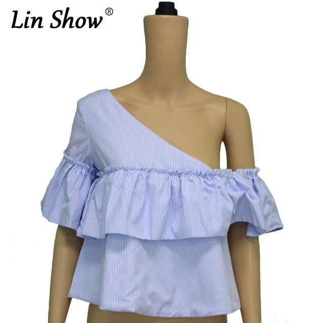 d2f02a6f3 LINSHOW Lado Irregular Hombro Ladies Blusas Rayado Azul Ruffles Manga Corta  Camisas de Las Mujeres Sexy
