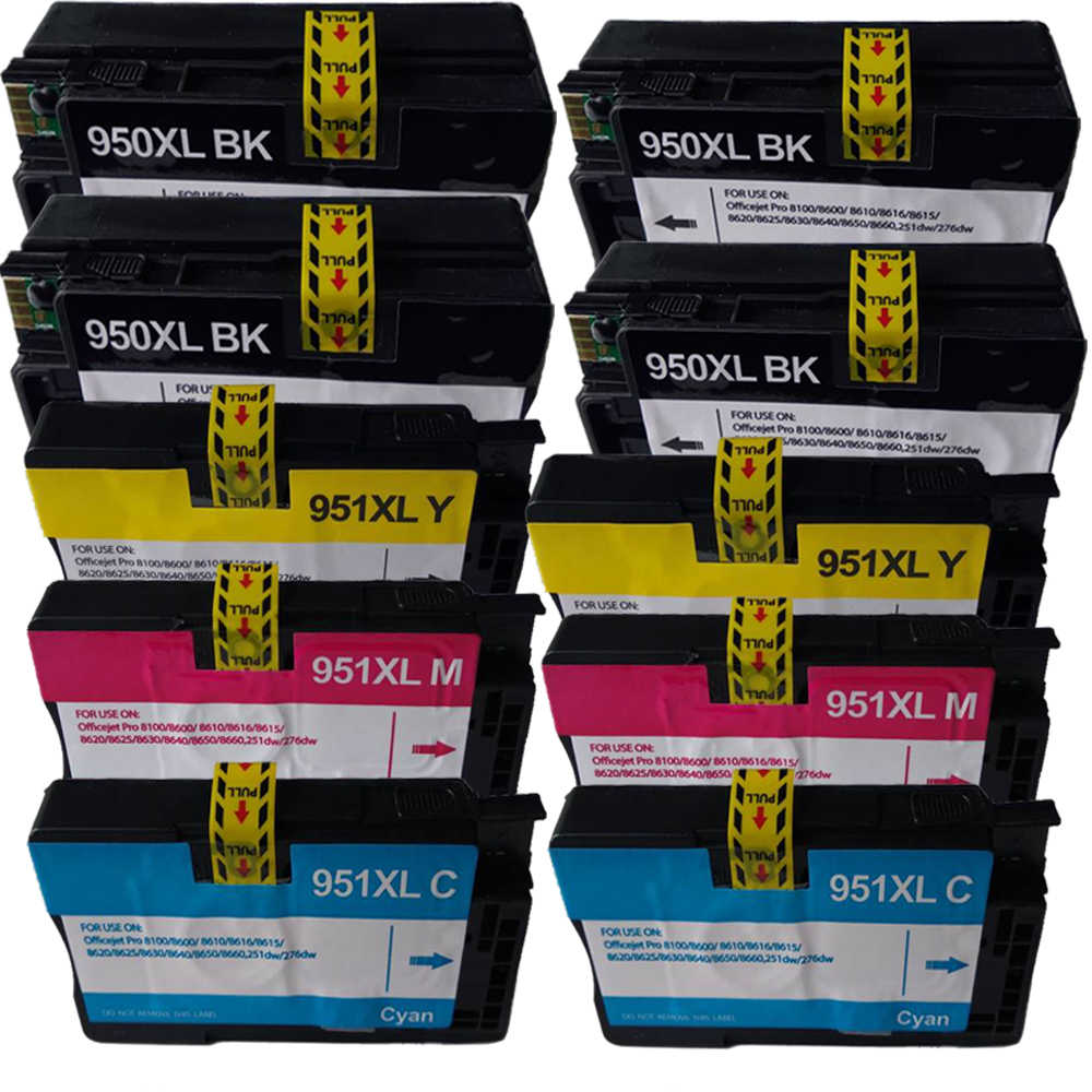 Compatible with HP Officejet Pro 8610 8600 Plus 10 Pack 950XL 951XL ink cartridges
