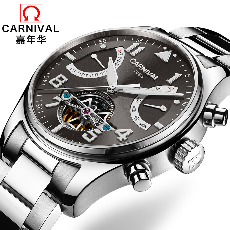 Switzerland Carnival Brand Luxury Mens Watches Multi-function Watch Men Sapphire reloj hombre Luminous relogio Clock C8783-1 wrist switzerland automatic mechanical men watch waterproof mens watches top brand luxury sapphire military reloj hombre b6036