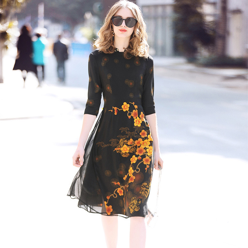 2018 Spring Summer New Brand Vintage Elegant Silk Floral Print Black Yellow Pearl Midi Women Dress European Vestidos Plus Size женское платье brand new 2015 v midi vestidos dress