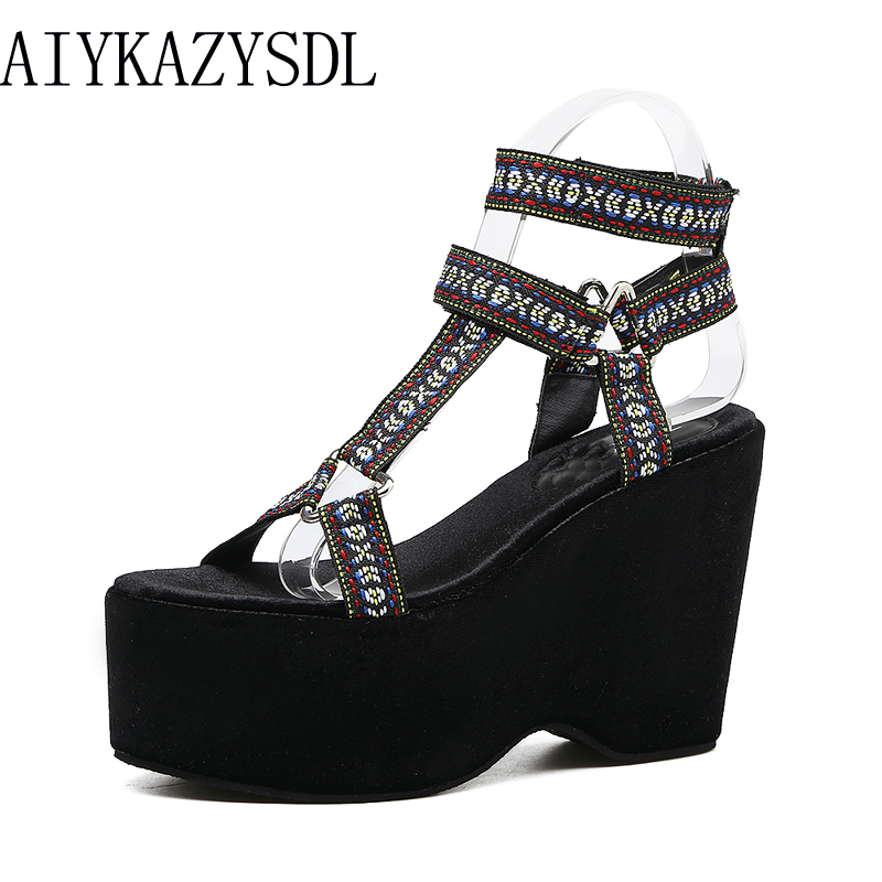 AIYKAZYSDL Ethnic Bohemian Gothic Gladiator Sandals Embroidered Shoes Women Thick Sole Platform Wedge Ultra High Heel Creepers phyanic 2017 gladiator sandals gold silver shoes woman summer platform wedges glitters creepers casual women shoes phy3323