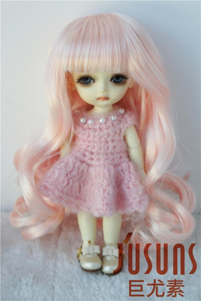 JD148 1/8 Симпатичные Длинные курчавый BJD химическое мохер кукла парики Размер 5-6 дюймов кукла парик распродажа - Цвет: Peach Pink SM108