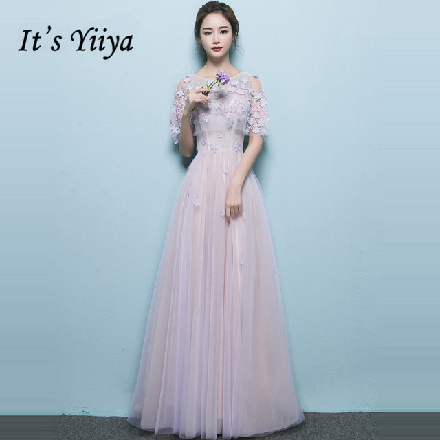 It's YiiYa Bridesmaid Dress Full Appliques Beading Flowers Party Dresses Women Pink Blue bridesmaid Long Formal Gown E065
