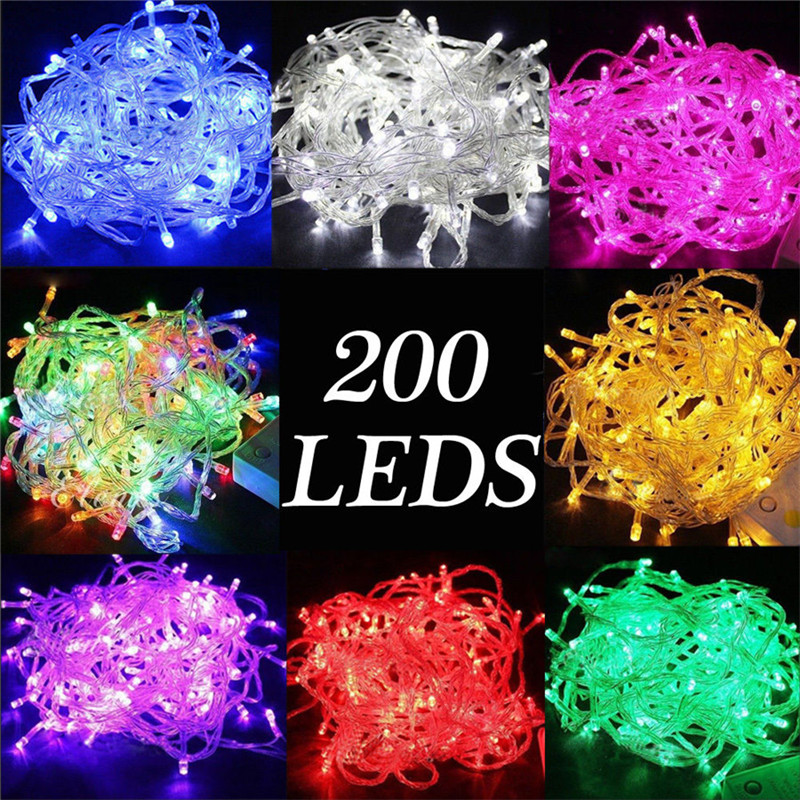 20M 200LEDs LED String Light AC220V AC110V 9 Colors Festoon Lamps Waterproof Outdoor Garland Party Holiday Christmas Decoration