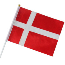 Hand Flags 5pcs 14*21CM of Denmark, Iceland, Costa Rica, Sweden, Tunisia, Egypt, Senegal, Iran  national flag with Pole