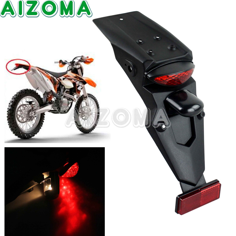 Universal Motorcycle Rear Fender With Brake Light Mudgurad Running Tail Light For Kawasaki Honda KTM Motocross License Plate