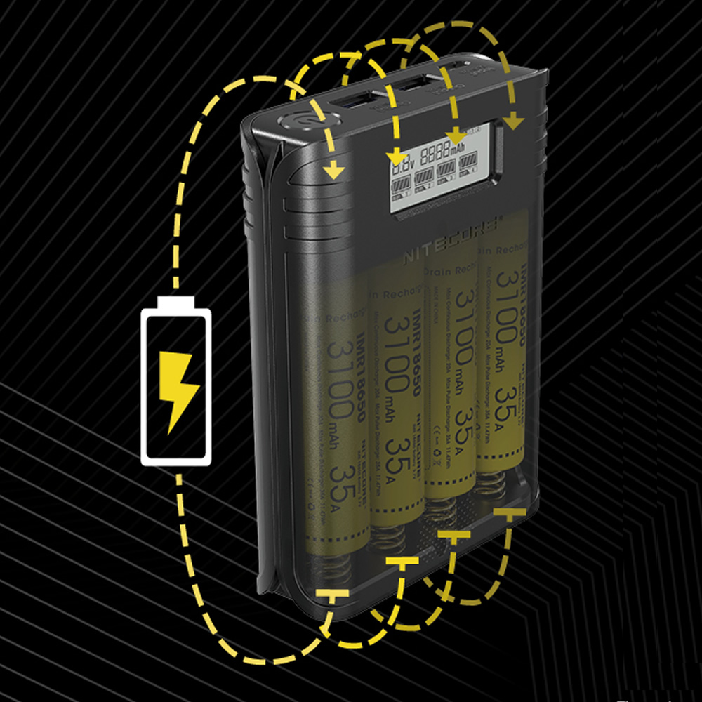 NITECORE F4 Flex Bank 2 In 1 Power Bank Smart USB Charger 4 Slots 4A Quick Recharging Outdoor Travel Power Without 18650 Battery