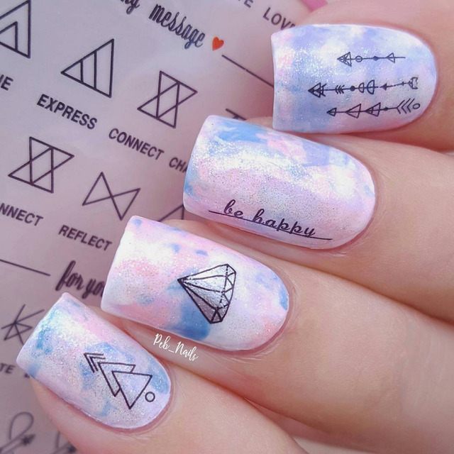 1 Sheet Letter Nail Art Water Decals Geometric Figure Manicure Transfer Stickers