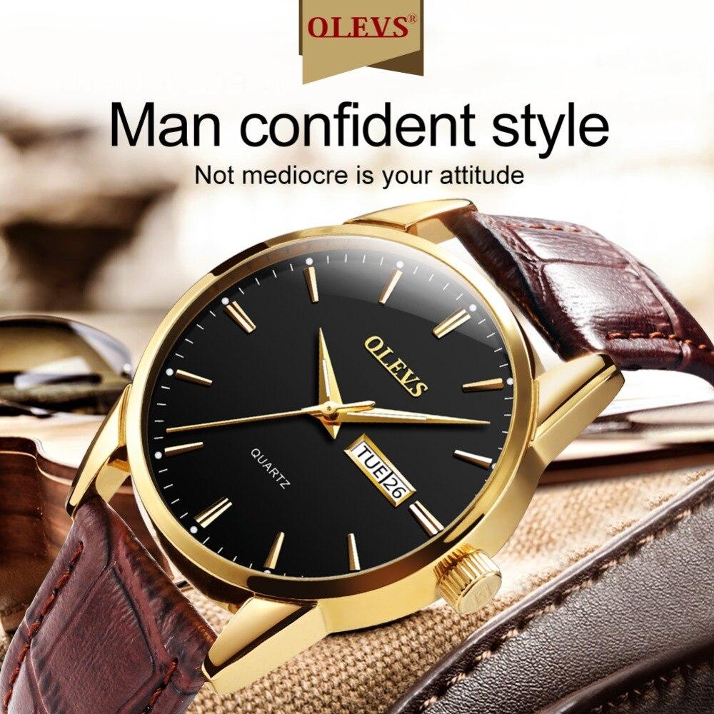 HTB1V0zQz7SWBuNjSszdq6zeSpXa9 Mens Watches Top Brand Luxury OLEVS Fashion Watch Men Leather Quartz Watch For Male Auto Date Rose Gold Shell relogio masculino