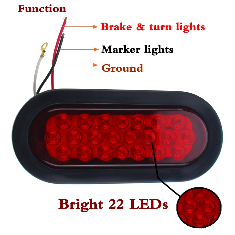 2pcs Oval Red Stop/turn Signal/brake/marker/tail Led Light 6 Inch 22-leds Flush Mount For Truck Trailer Trail Bus 12v