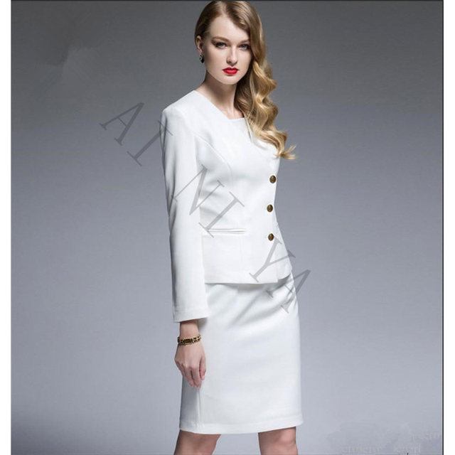 Online Shop Women Skirt Suits White Black Formal Business Suits with ...