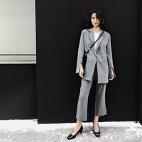 Gray Blazer Pants Sets Split Sleeve Pearl Pin Spring Garment 2019 Women's Loose Business Wide Legged Trousers INS Two piece Suit