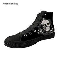 Nopersonality Прохладный сахарный череп печати вулканизируют обувь для мужчин Классические высокие холщовые дышащие мужские кроссовки плюс