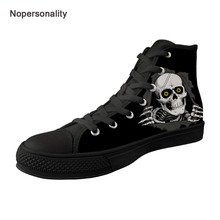 Nopersonality Cool Sugar Skull Print Vulcanize Shoes for Men Classic High Top Canvas Shoes Breathable Male Sneakers Plus