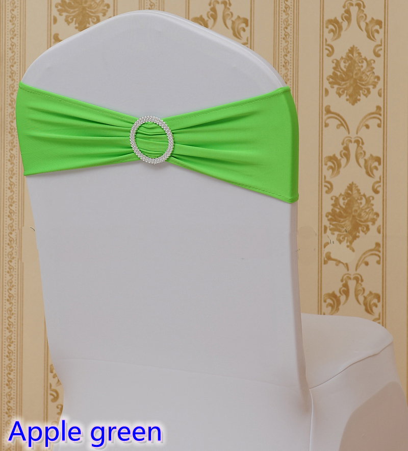 Lime green colour on sale chair sash with Round buckles for chair covers spandex band lycra sash bow tie wedding decoration