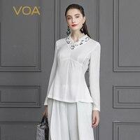 VOA шелк футболка белый женские офисные Осенние Топы с длинным рукавом Для женщин большой Размеры элегантная Rococo Тонкий туника сладкий тройн