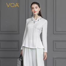 VOA Silk T Shirt White Office Ladies Tops Autumn Long Sleeve Women Large Size Elegant Rococo Slim Tunic Sweet Tee Brief B817 2sd1047 2sb817 d1047 b817