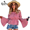 AZULINA Casual 2017 Red Checked Blouse Shirt Women Gingham Sexy Off Shoulder Tops Slash Neck Long Flare Sleeve Blouse Blusas