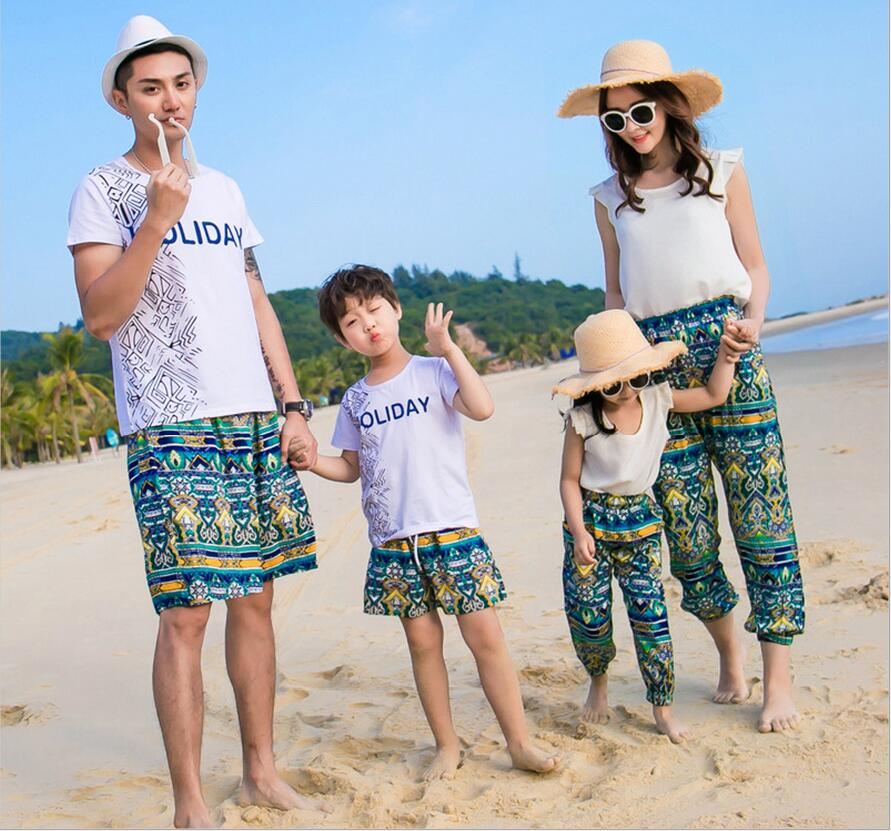 2019 summer style family look father son mother and daughter clothes white cotton men t-shirt beach shorts girls tops boys pants como vestir con sueter mujer
