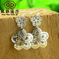 silver earrings pierced the sun breviscapine Tremella falling folk style retro jewelry allergy proof color retention