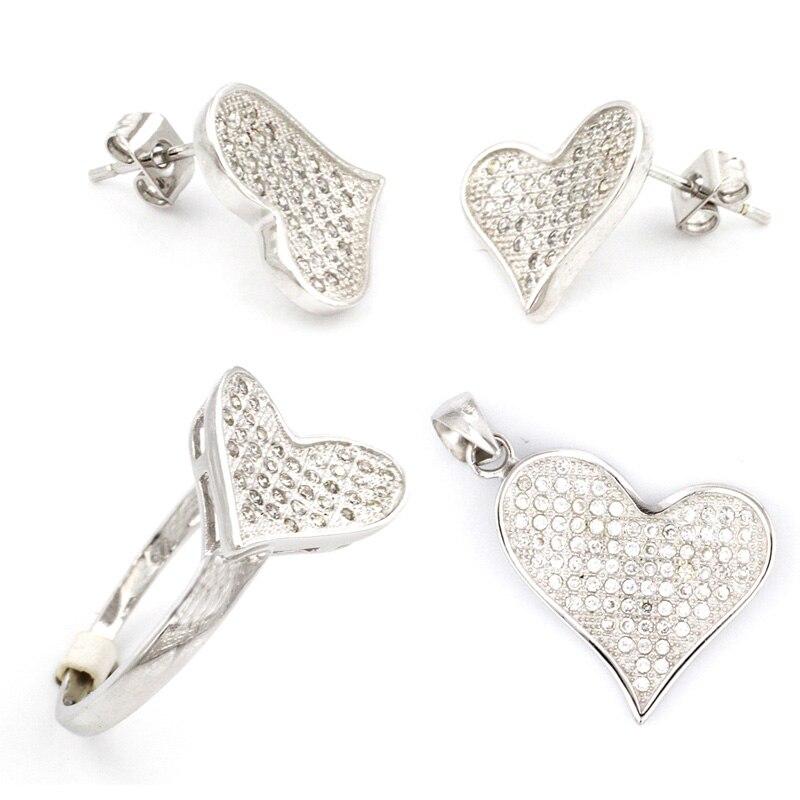 Сердце ювелирные изделия Для женщин/Дамская мода кулон/серьги/кольцо устанавливает 925 серебро комплект любовь навсегда ювелирные комплекты HS0087S