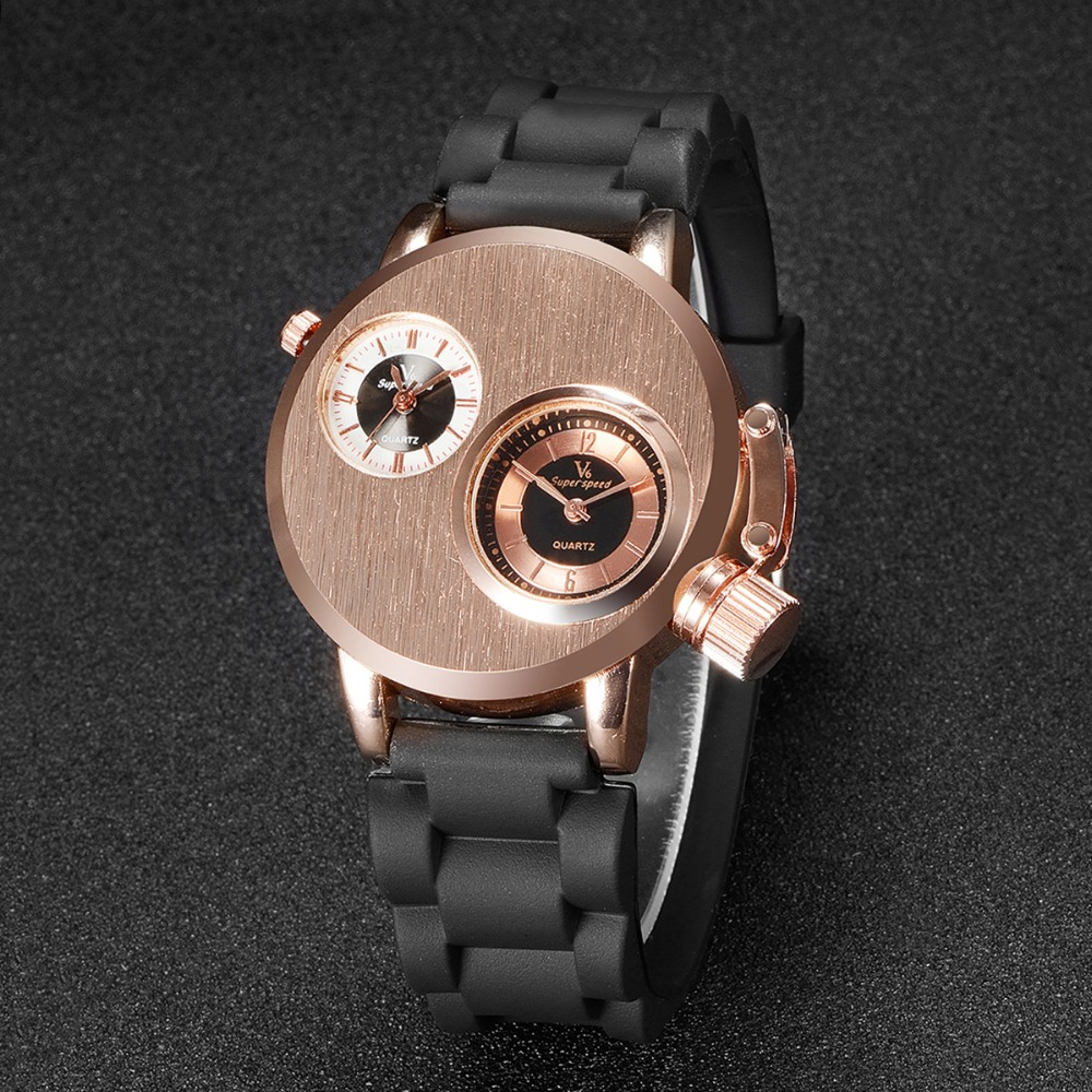 2016 Fashion Quartz Men Wristwatches Gusseisen Case Dual Quartz Movements 2 Dials Sport Silicon Band Military