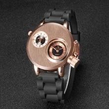 2018 Fashion Quartz Men Wristwatches Gusseisen Case Dual Quartz Movements 2 Dials Sport Silicon Band Military