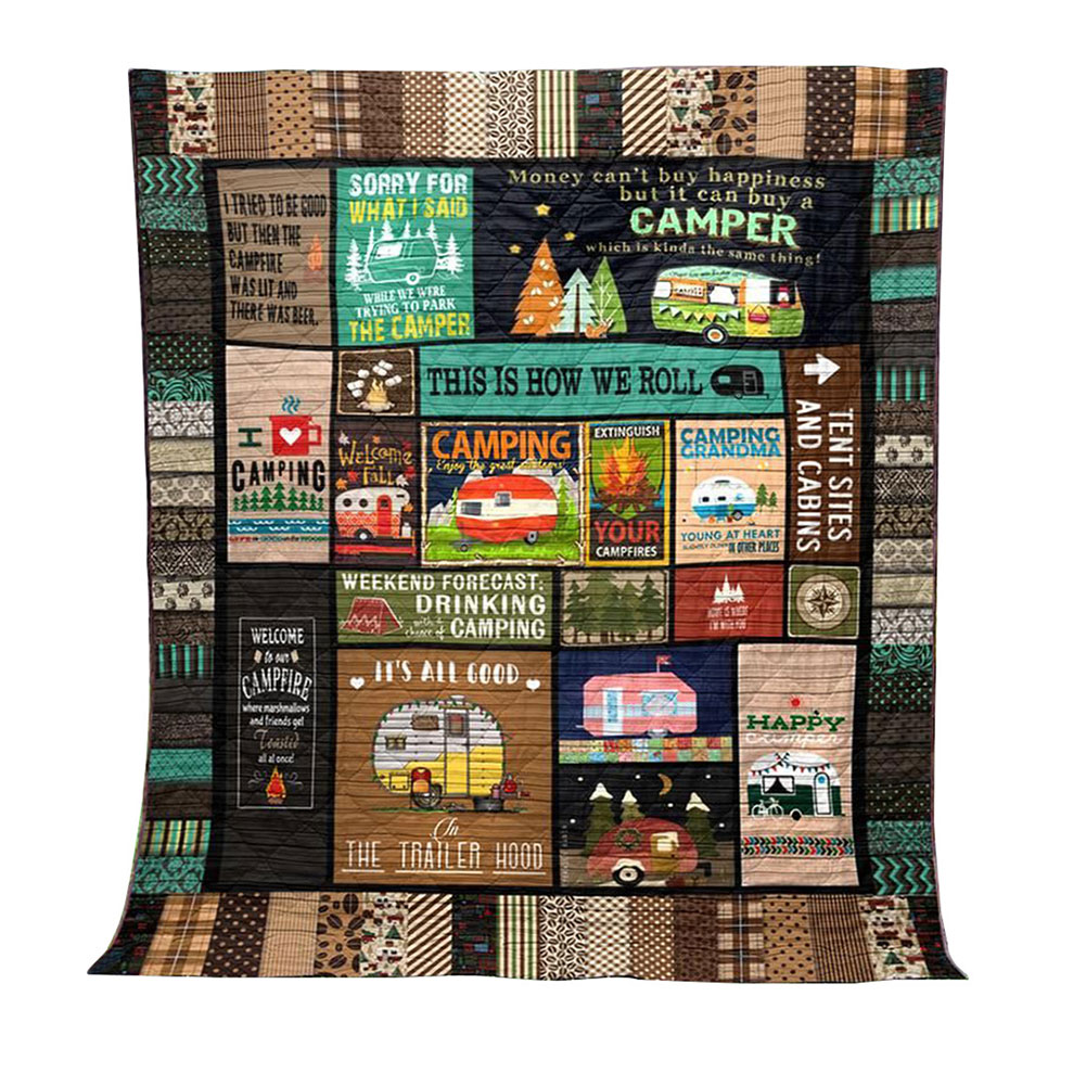 This Is How We Roll Camping Blanket Quilt Comforters With Reversible Cotton 3D Printing Camping Mat FPing
