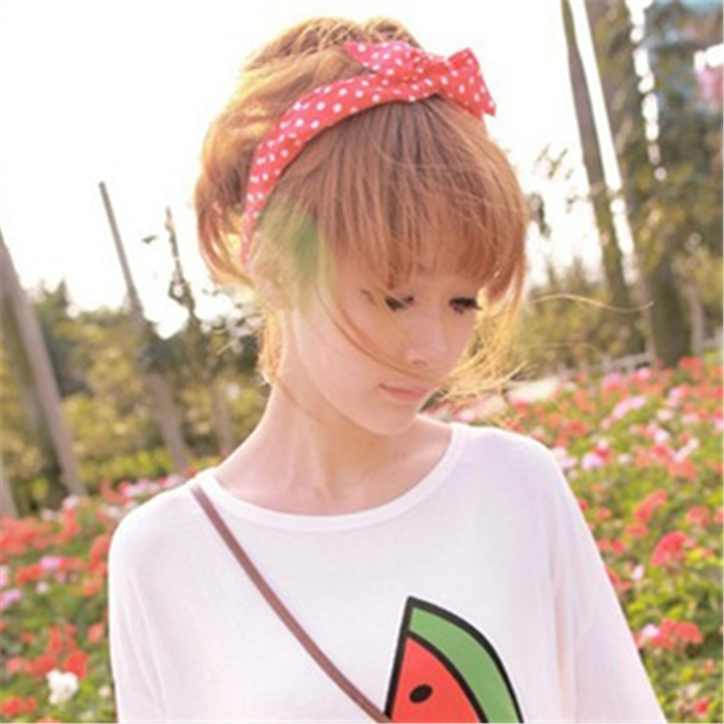 1Pcs Cute Korean Dots Bunny Rabbit Ear Ribbon Headwear Hairband Metal Wire Scarf Headband Hair Band Accessories 20 Colors