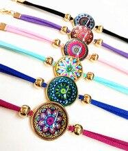 24pcs Plated Gold Mandala Bandanna Paisley India style Lattice, Wavepoint Glass charm bracelets for Girls women wholesale