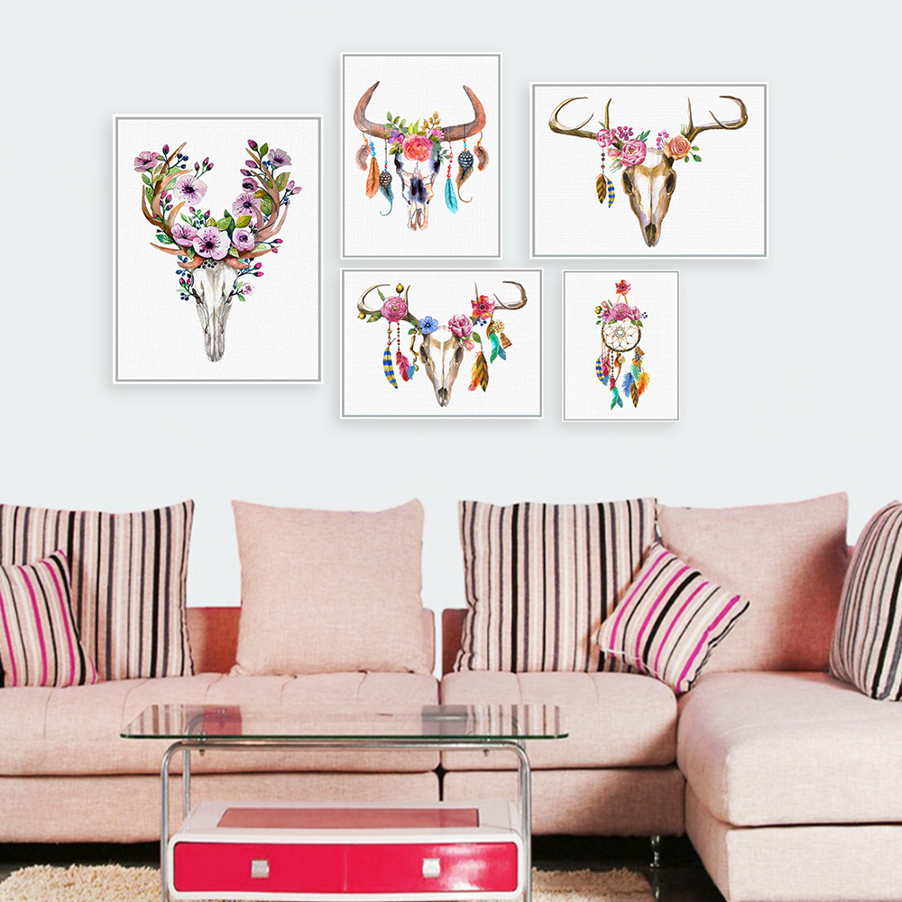 watercolor vintage animal head deer skull feather a4 art poster print dream catcher wall picture. Black Bedroom Furniture Sets. Home Design Ideas
