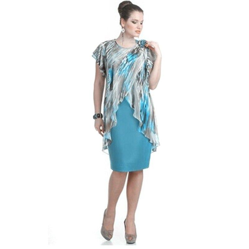 Plus Size Summer Dress Women's Clothing Knee-Length Fake Two-Piece Dress Large Size Chiffon Ruffles Fashion Women's Dress