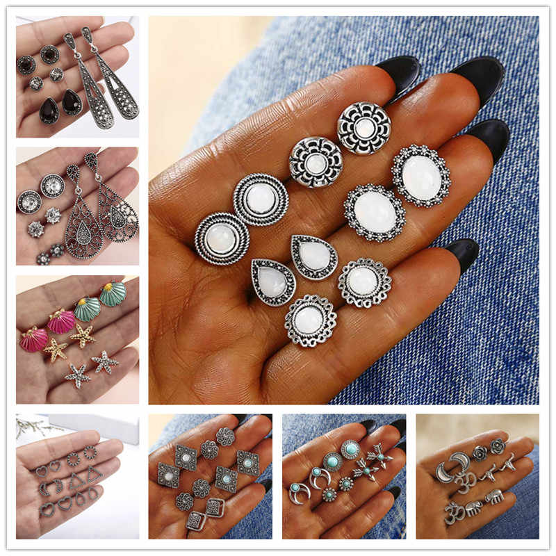 Vintage Geometric Stud Earrings Set For Women Girls 2018 Fashion crustal Flower shell Small Earrings Boucle d'oreille Femme a68