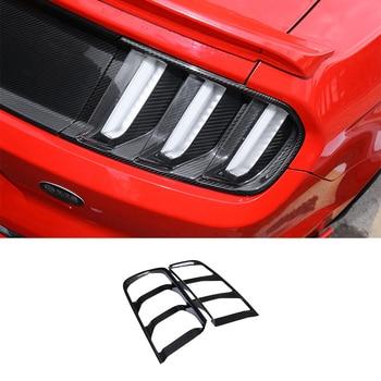 QHCP ด้านนอกไฟท้ายกรอบตกแต่ง 1 คู่โครเมี่ยมคาร์บอนไฟเบอร์ Trim ป้องกันสติกเกอร์สำหรับ Ford Mustang 2015-2017