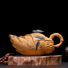PINNY 300ML Purple Sand Bamboo shoots Teapot Yixing China Clay Tea Pot Hand Made Kung Fu Set Natural Ore Drinkware