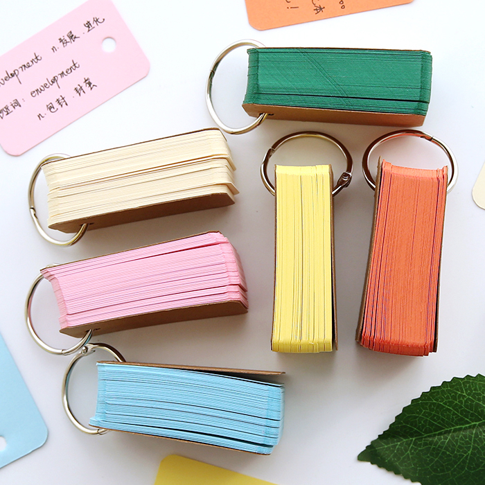 Small 80 Unruled Blank Pages Notepad Word Cards, Binder Ring Easy Flip FlashCards Alphabet Cards For Study