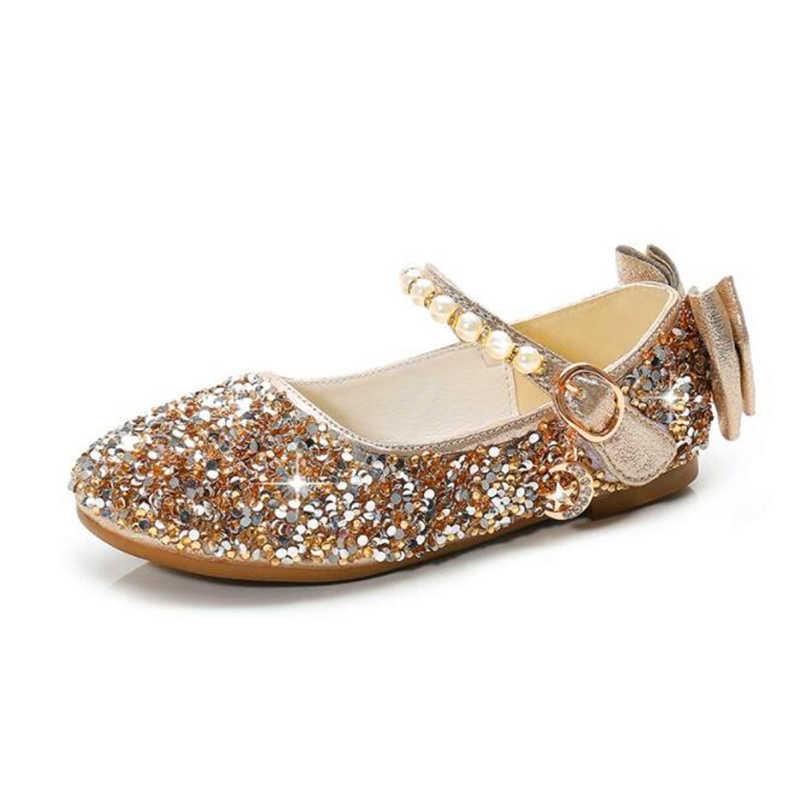 Золотой маленький цветок девочки дети ребенок дети Стразы Блеск принцесса платье обувь для девочек танцевальная Свадебная вечеринка обувь 24-37