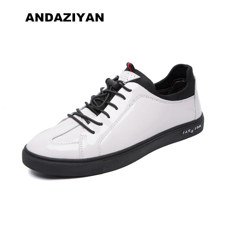 Estilo Liso Preto Masculinos Sapatos Couro De branco Britânico rwCqS7r