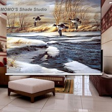 MOMO Roller Blinds Painting Window Blinds Shades Blackout Zebra Blinds Fabric Roller Shutter Curtains Custom Size , Alice 19
