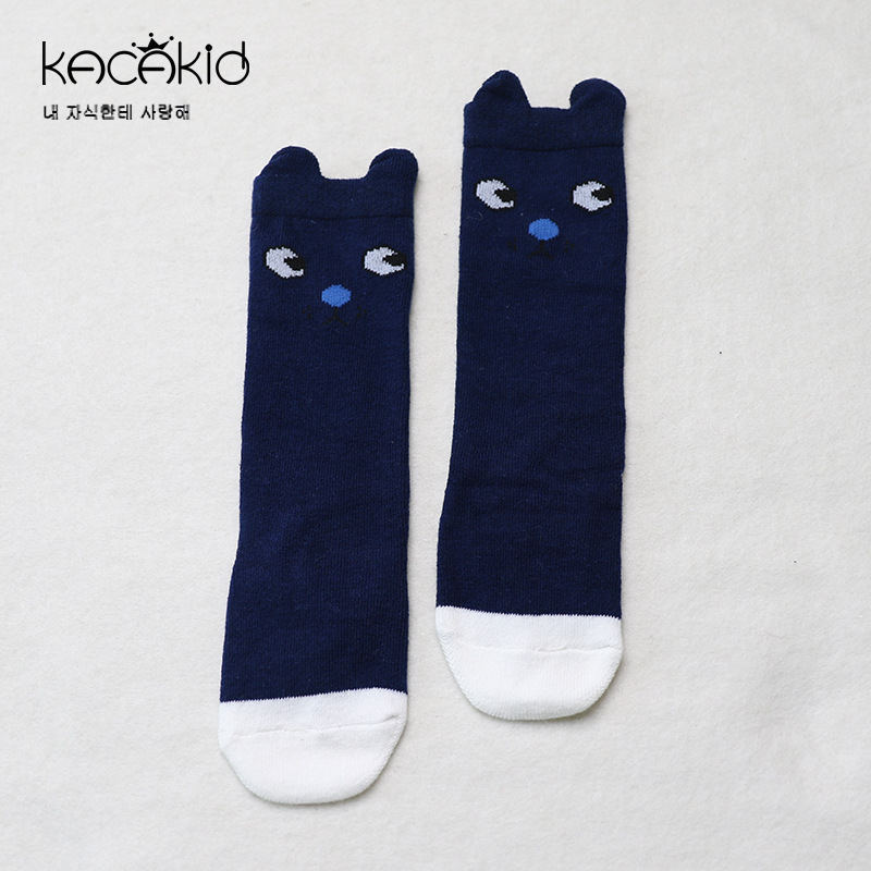 Kacakid Spring new childrens long socks baby Cartoon socks baby boy girls cotton non-slip socks