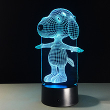 New Cartoon 3D Lamp Bedroom Table Night Light 7 Colors Touch Base Lamp Acrylic Panel USB Cable LED Illusion Light Kids Gift недорого