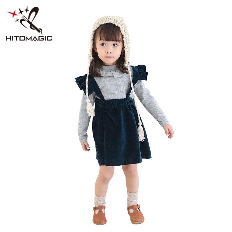 HITOMAGIC Girls Clothes 2018 Autumn Kids Baby Girl Dress For Party Wedding Blue Strap Velvet Children Princess Dress Winter Cute цена 2017