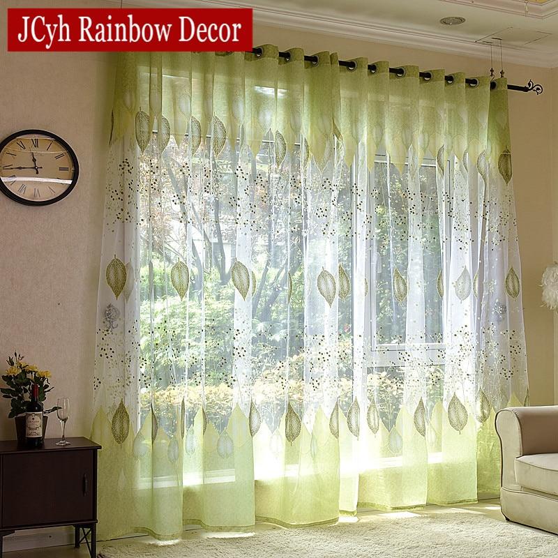 Modern Tulle Curtains For Living Room Green Leaves Sheer