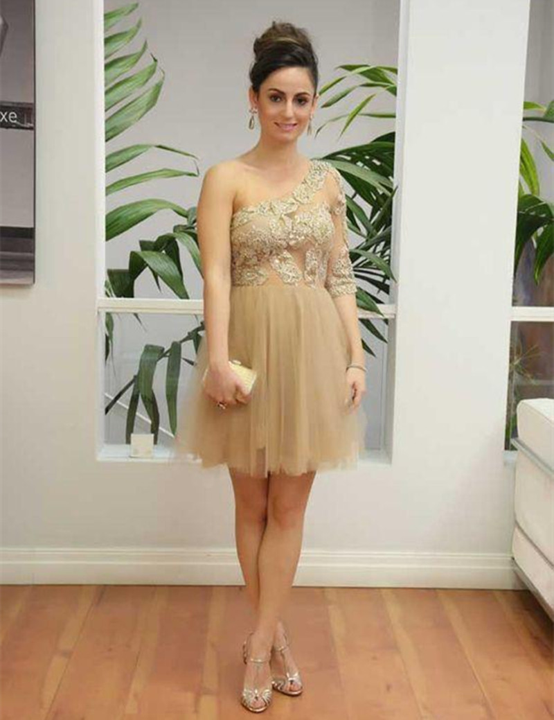 Champagne Short Prom Dresses One Shoulder Half Sleeves Illusion Cheap Formal Cocktail Dress Evening Wear A Line Tulle Cheap Party Gowns